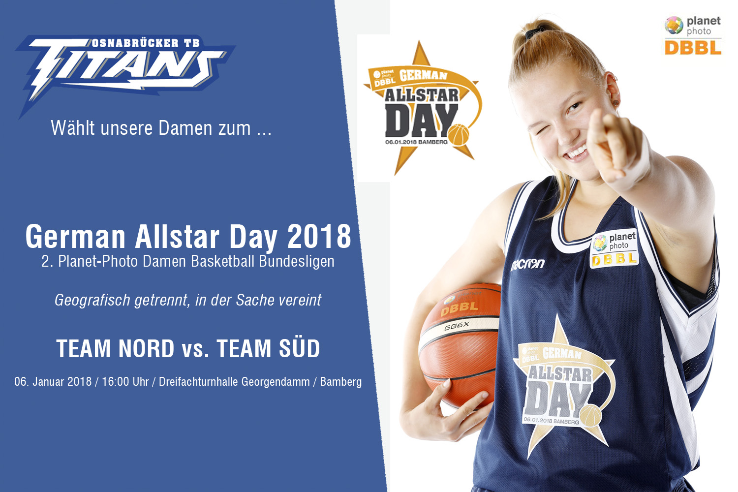 Voting zum German Allstar Day 2018 der 2. Planet-Photo DBBL ist gestartet